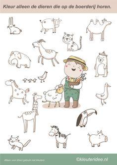 Kleur alleen de dieren die op de boerderij horen, juf Petra van Kleuteridee, color the farm animals, free printable.