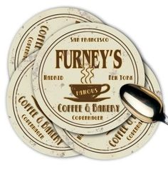 FURNEY'S Coffee & Bakery Coasters Set of 4 by J Edgar Cool. $15.95. New. Set of 4 high quality coasters made of soft neoprene foam rubber. 4? diameter x 3/16? thick. Protects your furniture. Permanent graphics. Hand washable. Money back guarantee! If you are not 100% satisfied with your purchase return the item to us for a full refund.