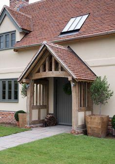 Pearmain - Border Oak - oak framed houses, oak framed garages and structures. House With Porch, House Front, Rendered Houses, Border Oak, Porch Canopy, Oak Front Door, Oak Frame House, Cottage Exterior, Exterior Design