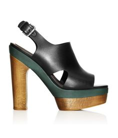 Leather Sandals $99  DESCRIPTION  Marni. Leather platform sandals with a wooden heel, peep toe and adjustable buckle at back. Rubber soles.  DETAILS  100% leather. -  Imported.  MARNI at H&M