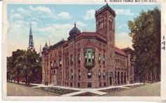 BAY CITY, MICHIGAN Masonic Temple Postcard