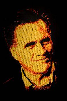 #romney #cheetos portrait of Mitt Romney made of cheetos!