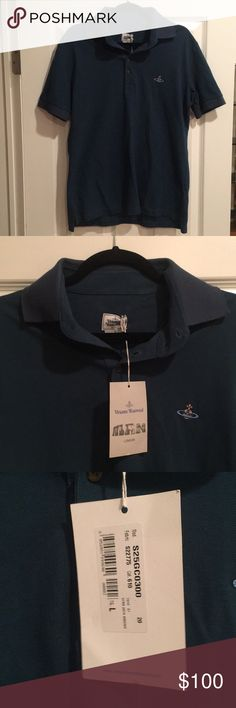 NWT MINT BRAND NEW VIVIENNE WESTWOOD MAN POLO Brand new.  Unused.  Tags attached.  I believe the shirt is a year old.  Haven't detached tags yet even or worn.  Too small for me now as I've put on a few pounds since I bought it.  Unfortunately for me, and fortunately for you, I've never had the chance to wear and am selling at a loss.  Color is teal.  THIS IS THE LOWEST PRICE YOU WILL FIND ANYWHERE FOR A BRAND NEW VIVIENNE WESTWOOD POLO LIKE THIS!!!!    SPECIAL LOW PRICING FOR NEW YEARS…