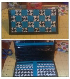 Woven teal and houndstooth tower duct tape wallet. Ziplock coin holder on top and 6 credit card slots with bill pocket on the bottom. Duct tape crafts
