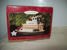 Hallmark Magic Lights Motion Santa's Showboat Ornament Works 1997