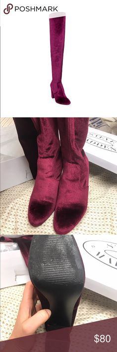 Steve Madden over the knee boots (red velvet, 9.5) style: EMOTIONV, size: 9.5, red velvet. Worn one time (promise), look brand new other than a few scratches on soles (pictured), but no marks on top/front of boots. I got these for NYE and loved them, I got a ton of compliments on them. Steve Madden Shoes Over the Knee Boots