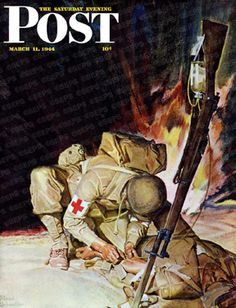 Medic Attending To Injured In The Field by Mead Schaeffer, March 11, 1944, The Saturday Evening Post.