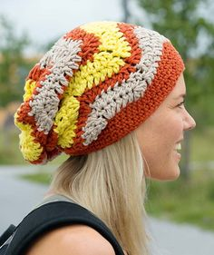 Mount Ollie Hat - Free Pattern: A three-color chevron pattern waves across this vibrant slouchy-style hat.