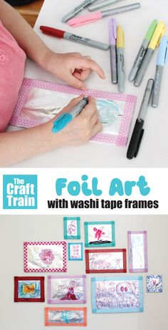 Create shiny foil art frames with washi tape borders to inspire kids to DRAW and get creative. This is a fun and easy way to inspire process art and the shiny, reflective surface is a new textural experience for kids #processart #foil #foilart #kidsart #doodling #drawing #thecrafttrain #funkidscrafts #artideas #kidsart #sharpieart Easy Crafts For Kids, Art For Kids, Art Frames, Tape Art, Sharpie Art, Foil Art, Frame Crafts, Process Art