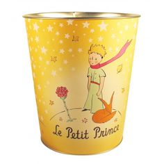 This wastepaper bin with warm colors and fine finish will perfectly fit in your office or in your room. This Little Prince bin is decorated with The Little Prince and his friends the fox and the rose.   From the new collection of furniture, this decorative and useful object will bring a touch of poetry in your home.