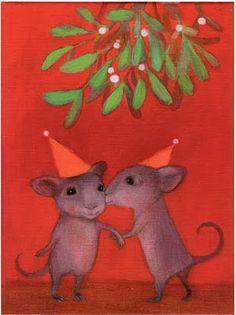 Petra Heikkilä, 'Under the Mistletoe' Christmas Cards, Merry Christmas, Under The Mistletoe, Christmas Illustration, Tis The Season, Petra, Scandinavian, Dinosaur Stuffed Animal, Drawings