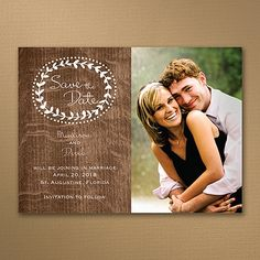 Show the sweeter side of rustic style with this woodgrain photo save the date card's wreath of little leaves. It circles your photo for a little romance.