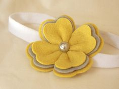 Poppy  Yellow  wool felt flower headbands by PetitCalla on Etsy, $13.99