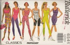 Butterick Pattern 6541 in Misses All Sizes XS, S, M, L and XL. Butterick Classics pattern line contatins unitard pattern, workout wear 80s Workout Clothes, Workout Clothing, Moda Fitness, Fitness Gear, Trends, 80s Fashion, Decades Fashion, Active Wear For Women, Workout Wear