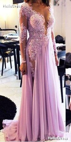 Sheer Neck Long Sleeves Lavender Lace and Chiffon Floor Length Party Dress Evening Gown with Beadings and Rhinestones on Storenvy