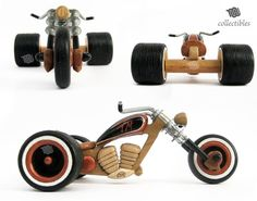Awesome replica of the Santiago Chopper trike, totally made out of wood! The piece is a great collectible replica, a must for every lover of the Santiago Chopper. Every detail is handmade. The piece alternately shows natural wood and decorated wood, hand painted with acrylics. Handlebars are made with screws bended by hand. Every bolt is hand painted too. The piece will come with its own personal wooden box as you can see in the photos. Chopper is totally stable in it thanks to foam pieces…