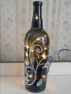 Rhinestone and Glitter Butterflies Lighted Wine Bottle