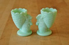 Pair Fenton Jadeite Rabbit Egg Cups, Jadite Bunny Cups, Collectible Martha Stewart by Mail Green Milk Glass Toothpick Holders, Gift by CobblestonesVintage on Etsy