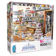 Can you find 18 hidden objects in the puzzle? This series offer an extra challenge with hidden images. Dream Day series celebrated being in love. This image is Dream Day Wedding - Married in Manhattan! Each puzzle is 1000 pieces and measures 27
