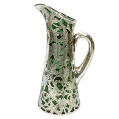 ALVIN Silver Overlay Emerald Green Wine Pitcher