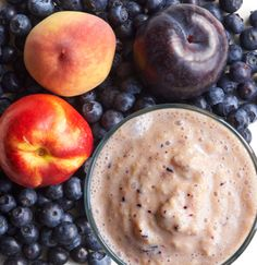 Summer Stone Fruit Smoothie - made with peach, nectarine, plum, and blueberries