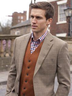 Men's Big & Tall Sports Jacket, Tweed - Oatmeal Check