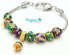 #Pugster original charm bracelet  #Faberge Egg Gold Plated Beads   The most unique #gift for valentine's day  Create your own Faberge Egg charm bracelets.