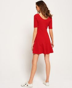 Shop Superdry Womens Wave Textured Skater Dress in Flare Red. Buy now with free delivery from the Official Superdry Store. Saved Items, Superdry, Fabric Material, Skater Dress, Swimwear, Sewing Projects, Model, Red, Stuff To Buy