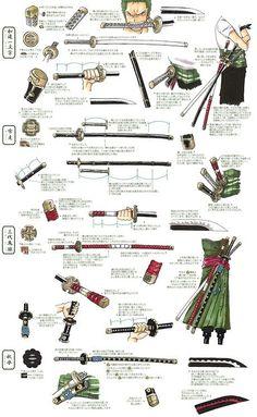 ONE PIECE, Katana Blade of Roronoa Zoro, (Top to bottom) Wado Ichimonji, Yubashiri, Sandai Kitetsu, Shusui