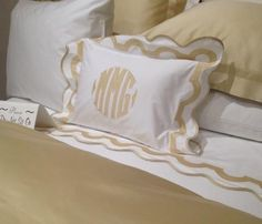 Matouk Mirasol Monogrammed Bedding Collection is inspired by a stroll down Worth Avenue in Palm Beach the unique arch trim of shop awnings becomes Monogram Bedding, Embroidery Monogram, Shop Awning, Sewing Techniques, Bedding Collections, Palm Beach, Machine Embroidery, Bed Pillows, Arch