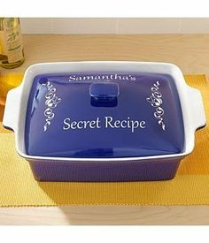Personalized Rectangle Casserole Dish - Blue - Message by Personal Creations. $39.99. A Personal Creations Exclusive! Make A Spectacular Presentation - From Oven To Tabletop - With A Bright Red Or Blue Casserole Dish. Glazed Stoneware Dishes Feature A White Interior And Are Dishwasher, Microwave And Oven Safe. We Personalize The Lid With Any Single Initial Or Any 2 Line Message, Up To 18 Characters Per Line. Rectangular Dish Has A 3.5 Quart Capacity And Measures 14 1/2...