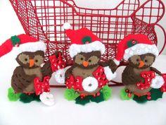Vintage Christmas Felt Ornaments Bucilla Owl by ThirstyOwlVintage, $24.50