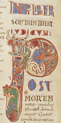 """Bíblia de Sant Pere de Rodes  Lletra inicial """"P"""" (vol. 1, full 99v) Bibliothèque nationale de France"""