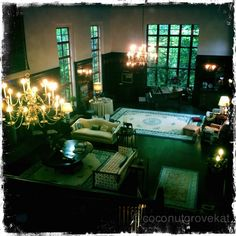Old world estate on the Coral Gables Waterway. Amazing living room that massive and really nothing like it on this 3 acre estate with Pool - Tennis- 250ft of dockage..  200 Edgewater dr Coral Gables Florida.