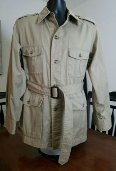 VTG LACOSTE HUNTING SAFARI BELTED JACKET SHIRT SZ L LEATHER BUCKLE EQUESTRIAN #LacosteIzod