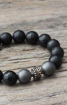 Onyx Hematite Unisex Bracelet / Bali Sterling Silver