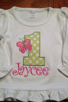 Birthday number applique shirt butterfly pink by Skunkysmonkeys, $20.00
