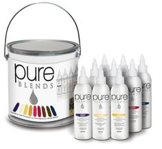 pure BLENDS Starter Kit has everything you need including 120ml sizes of 9 color depositing shampoos, coco-colada shampoo, coco-colada conditioner, pure magic, and a pure BLENDS product knowledge guide housed in an attractive paint can product container.
