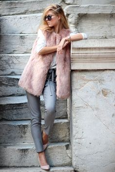 Faux Fur Vest, Pink and Grey http://FashionCognoscente.blogspot.com