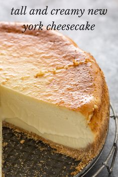 #Tall #and #Creamy #New #York #Cheesecake Tall and Creamy New York Cheesecake  Ingredients 32 oz cream cheese (4 packages) room temperature 5 large eggs room temperature etc  Instructions 1. Tightly wrap 2 layers of aluminum foil around the outside of a 10 inch springform pan covering bottom and sides. 2. Generously coat inside of pan with butter. 3. etc Best Fried Chicken Recipe, Chicken Wing Recipes, Kitchen Recipes, Baking Recipes, Healthy Recipes On A Budget, Easy Recipes, Healthy Deserts, Healthy Food, Recipe Today