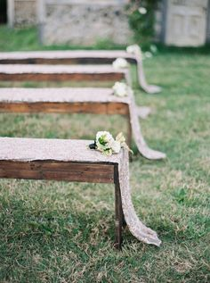 Sequin draped ceremony benches: http://www.stylemepretty.com/2015/12/23/black-gold-holiday-wedding-inspiration/ | Photography: Julie Paisley - http://juliepaisleyphotography.com/blog/