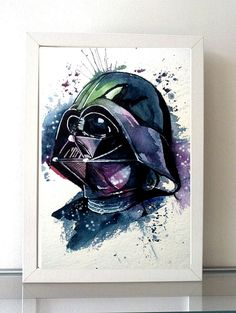Darth Vader colorful Watercolor art Print Empire Star por ILoresart - Star Wars Models - Ideas of Star Wars Models - Darth Vader colorful Watercolor art Print Empire Star por ILoresart Star Wars Film, Star Wars Art, Decoracion Star Wars, Cuadros Star Wars, Star Wars Bedroom, Star Wars Painting, Watercolor Art Lessons, Pinturas Disney, Contour Drawing