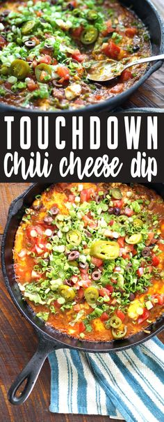 Touchdown Chili Cheese Dip Are you ready for some football? This Touchdown Chili Cheese Dip recipe will make the crowd go wild! Layers of beans, chili, cheese, and more flavor-packed surprises will be a hit at your next tailgate party. Make Ahead Appetizers, Appetizer Dips, Appetizer Recipes, Snack Recipes, Healthy Recipes, Party Recipes, Drink Recipes, Delicious Recipes, Chili Cheese Dips