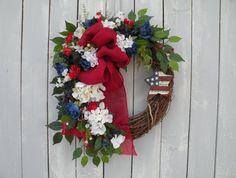 Patriotic Wreath, Americana Wreath, Front Dooor Wreath, Designer Wreath, God Bless America Wreath, Home Decor