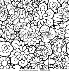 Monochrome Seamless Background With Flowers Hand Drawn Vector Swatch Included In Swatches Palette Anti Stress Coloring Page For Adults