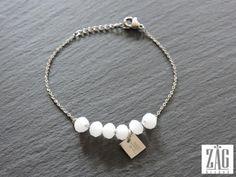 Bracelet ZAG perles blanches SB1176 acier blanc