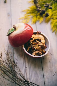 **All items are made to order. Each item will take 2-3 weeks to complete.**  This beautiful apple is more than meets the eye – open it and find goodies inside!   Perfect for storing dried...
