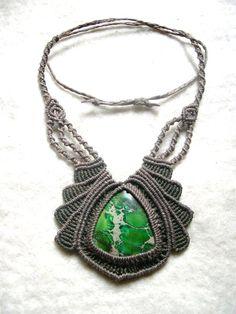 Jaspis - Kette Makramee grüner Jaspis - ein Designerstück von Magic-Knots bei DaWanda