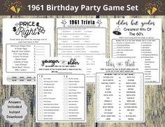 1961 60th Birthday Party Game Set Born in 1961 Birthday | Etsy