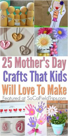 Are you looking for that perfect Mother's Day present? Gather your craft supplies together to make one of these easy 25 Homemade Mother's Day Crafts for Kids. Several of these Mother's Day crafts are also great for preschoolers and elementary school kid Easy Mother's Day Crafts, Mothers Day Crafts For Kids, Diy Mothers Day Gifts, Fun Diy Crafts, Mothers Day Presents, Crafts For Kids To Make, Holiday Crafts, Gifts For Kids, Kids Crafts